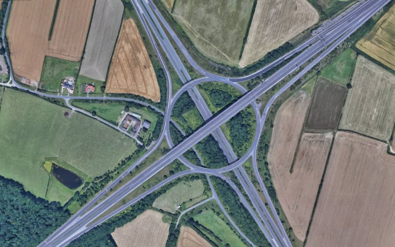 A bird's-eye view of a 3 level stacked roundabout on the A1(M)/M18 junction.