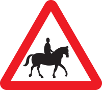 Accompanied horses or ponies warning sign