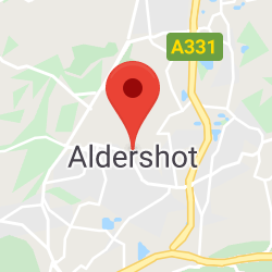 Cropped Google Map with pin over Aldershot