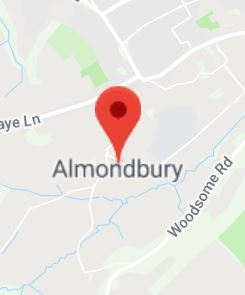 Cropped Google Map with pin over Almondbury