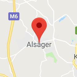 Cropped Google Map with pin over Alsager