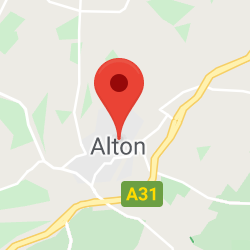 Cropped Google Map with pin over Alton