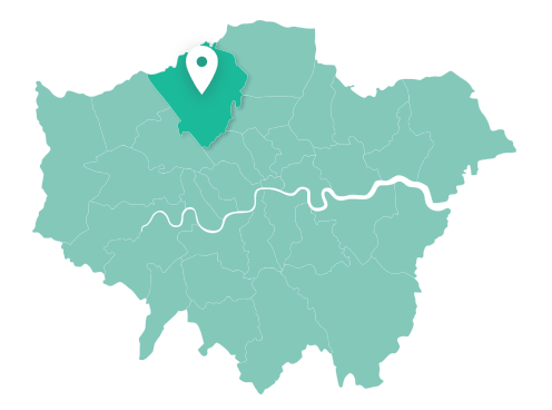 Map of Barnet within Greater London