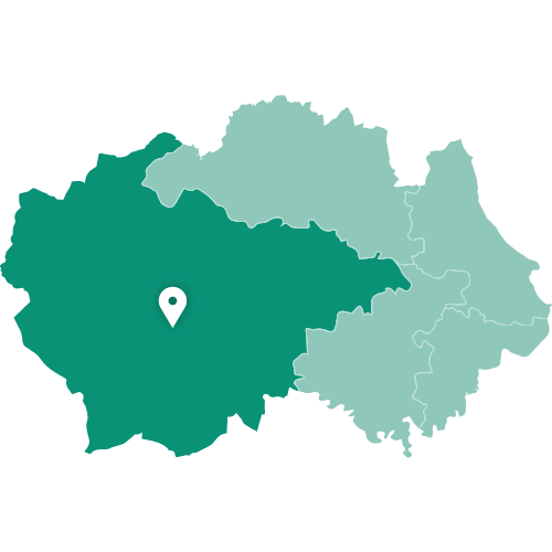 Map showing Bishop Auckland within County Durham