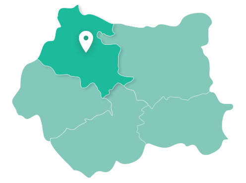 Map of Bradford within West Yorkshire