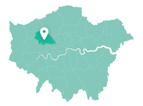 Map of Brent within Greater London