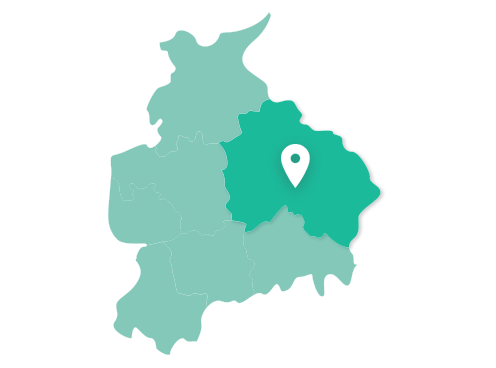 Map showing Burnley within Lancashire