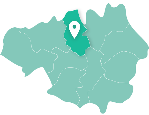 Map showing Bury within Greater Manchester