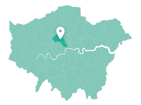Map of Camden within Greater London