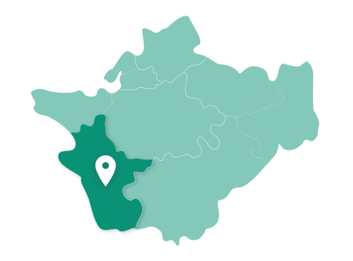 Map showing Chester within Cheshire