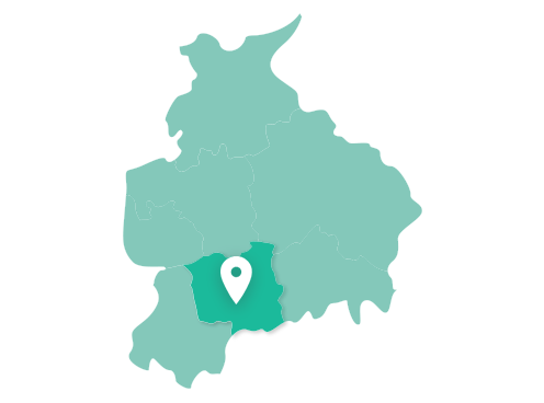 Map showing Chorley within Lancashire