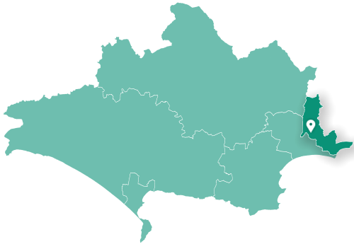 Map showing Christchurch within Dorset