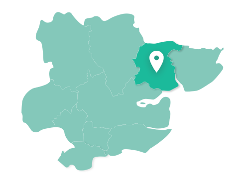 Map of Colchester within Essex