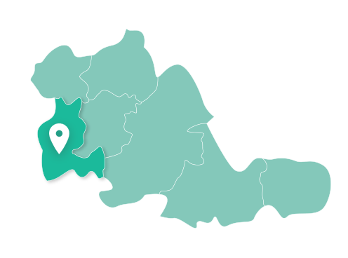 Map showing Dudley within West Midlands