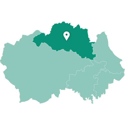 Map showing Durham within County Durham