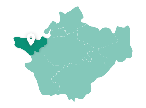 Map showing Ellesmere Port within Cheshire