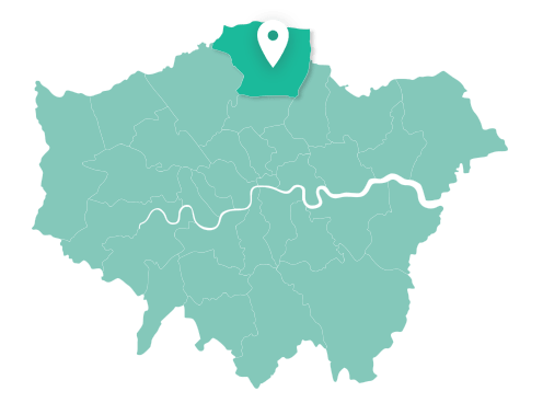 Map of Enfield within Greater London