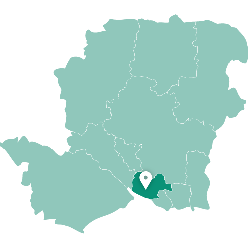 Map showing Fareham within Hampshire