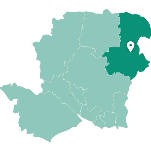 Map showing Farnborough within Hampshire