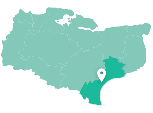 Map of Folkestone within Kent