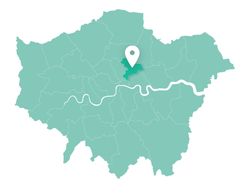 Map of Hackney within Greater London