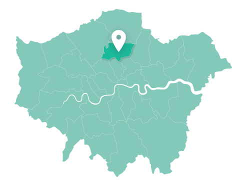 Map of Haringey within Greater London