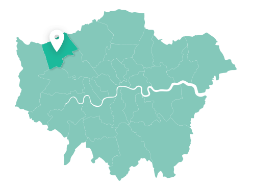 Map of Harrow within Greater London