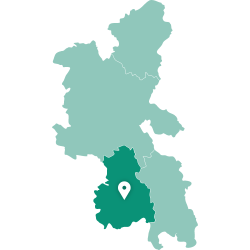 Map showing High Wycombe within Buckinghamshire