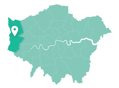 Map of Hillingdon within Greater London