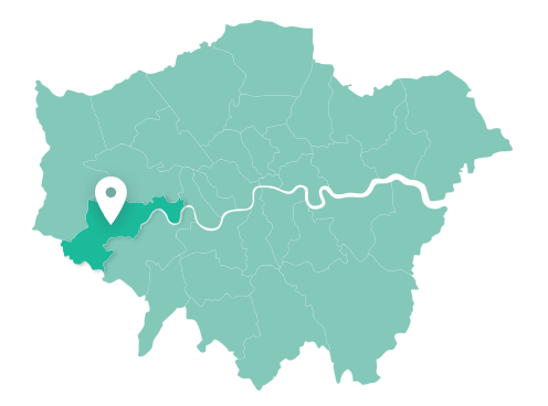 Map of Hounslow within Greater London