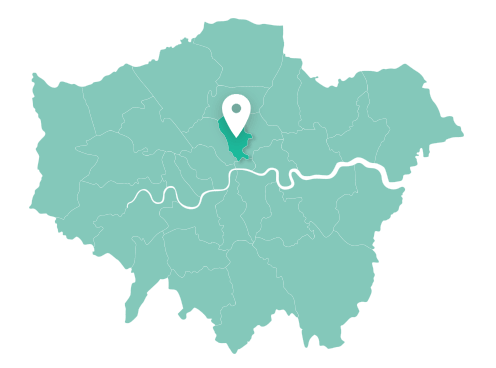 Map of Islington within Greater London