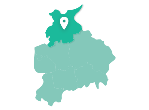 Map showing Lancaster within Lancashire