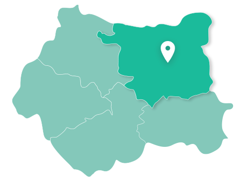 Map of Leeds within West Yorkshire