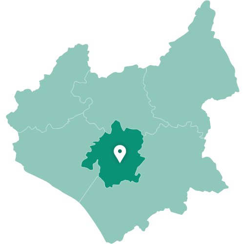 Map of Leicester within Leicestershire