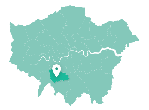 Map of Merton within Greater London