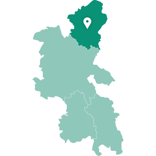 Map showing Milton Keynes within Buckinghamshire