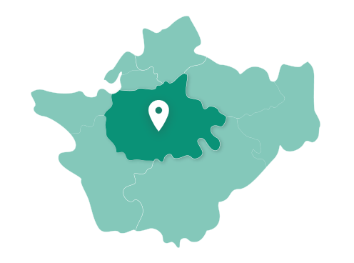 Map showing Northwich within Cheshire