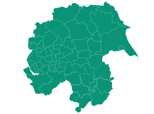 Map of Cheshire, Greater Manchester, Merseyside, Lancashire and Yorkshire