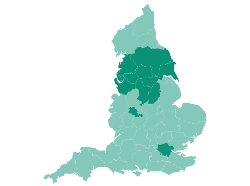Map of Cheshire, Greater Manchester, Greater London, Lancashire, Merseyside, West Midlands and Yorkshire