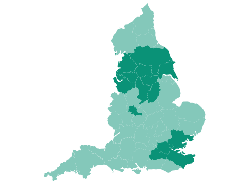 Map of Cheshire, Essex, Greater Manchester, Greater London, Kent, Lancashire, Merseyside, Surrey, West Midlands and Yorkshire