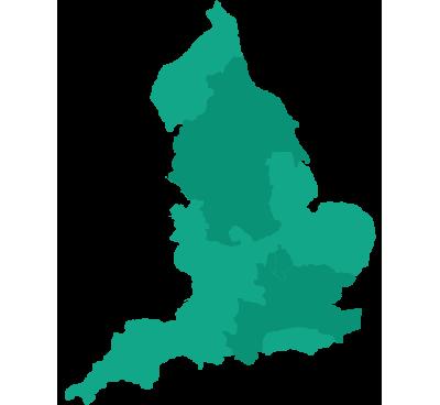 Map of Bedfordshire, Berkshire, Buckinghamshire, Cheshire, County Durham, Essex, Greater Manchester, Greater London, Hampshire, Hertfordshire, Kent, Lancashire, Merseyside, Surrey, Tyne & Wear, West Midlands and Yorkshire