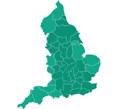 Map showing our coverage of selected counties across England.