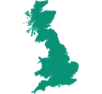 Map showing our coverage of Great Britain.