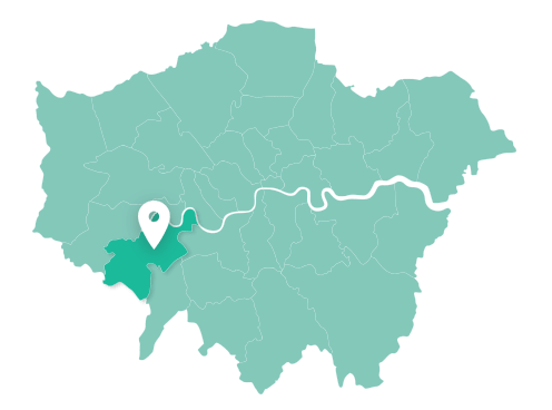 Map of Richmond upon Thames within Greater London