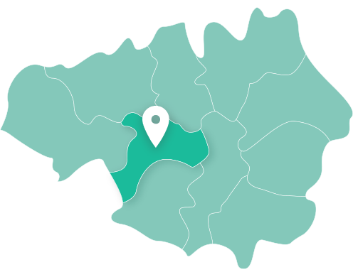 Map of Salford within Greater Manchester