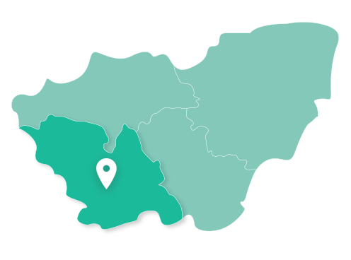 Map showing Sheffield within South Yorkshire