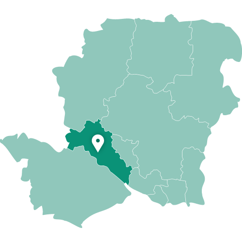 Map showing Southampton within Hampshire