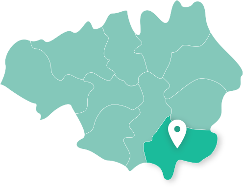 Map of Stockport within Greater Manchester