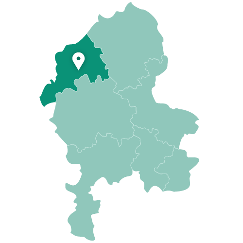 Map of Stoke-on-Trent within Staffordshire