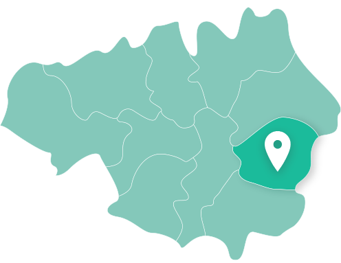Map of Tameside within Greater Manchester